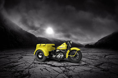 Harley Davidson Service Car 1942 Mountains Art Print by Aged Pixel