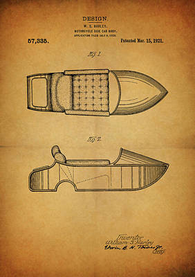 Motorcycle Drawing - Harley Davidson Side Car Motorcycle Patent by Dan Sproul