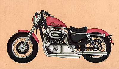 Antique Miniature Painting - Harley - Davidson Sportster 883,antique Vintage  by A K Mundra