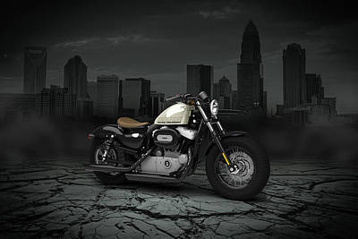 Eight Digital Art - Harley Davidson Sportster Forty Eight 2013 City by Aged Pixel