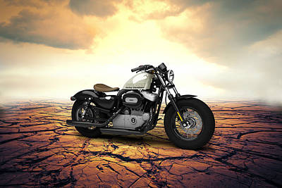 Eight Digital Art - Harley Davidson Sportster Forty Eight 2013 Desert by Aged Pixel