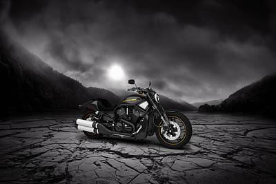 Harley Davidson V-rod 2013  Mountains Print by Aged Pixel