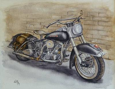 Painting - Harley Davidson Vintage 1950's by Kelly Mills