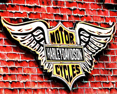 Digital Art - Harley Davidson Wings by Leslie Montgomery