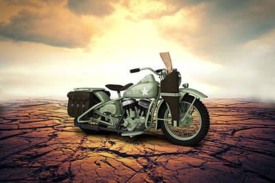 Antique Bobbers Digital Art - Harley Davidson Wla 1942 Desert by Aged Pixel