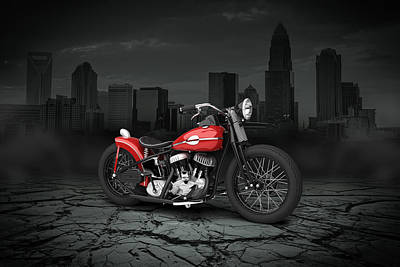 Harley Davidson Wla  Bobber 1945 City Background Art Print by Aged Pixel