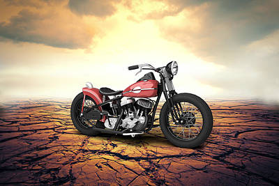Antique Bobbers Digital Art - Harley Davidson Wla Bobber 1945 - Desert by Aged Pixel