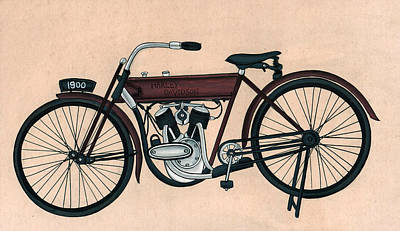 Antique Miniature Painting - Harley Davidson1900 Old Bicycle Antique Vintage, Artwork India, Miniature Painting, Watercolor  by A K Mundra
