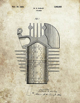 Drawing - Harley Engine Cylinder Patent by Dan Sproul