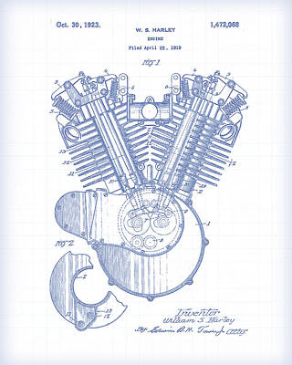 Painting - Harley Engine Patent Drawing by Gary Grayson