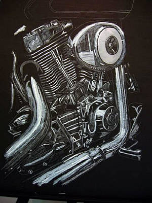 Painting - Harley Engine by Richard Le Page