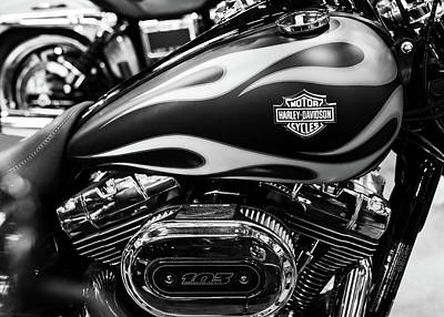 Photograph - Harley Flames 110716 Bw by Rospotte Photography
