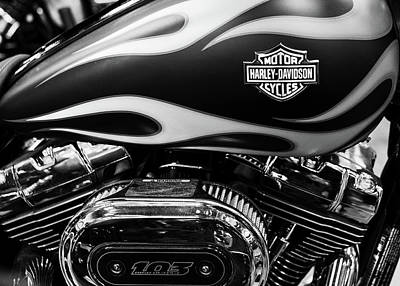 Photograph - Harley Flames 110716 Bw V2 by Rospotte Photography