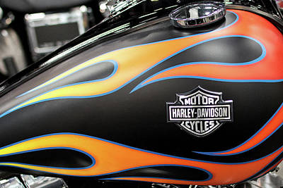 Photograph - Harley Flames 110716 V3 by Rospotte Photography