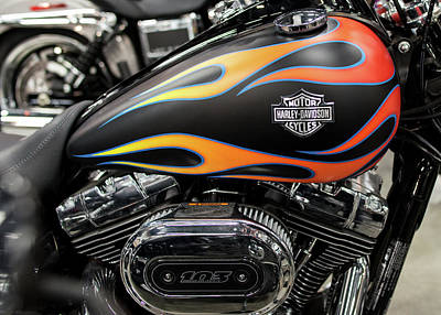 Photograph - Harley Flames 11716 by Rospotte Photography