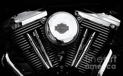 Harley Davidson Photograph - Harley Motor Monochrome by Tim Gainey
