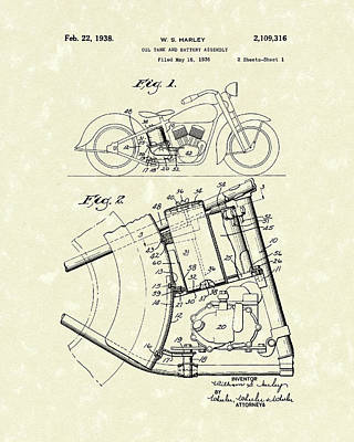 Bicycle Drawing - Harley Motorcycle 1938 Patent Art by Prior Art Design