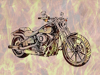 Mixed Media - Harley Motorcycle On Flames by Dan Sproul