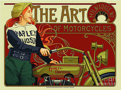 Digital Art - Harley Poster 1917 by Steven Parker