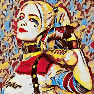 Abstract Photograph - Harley Quinn Chaos - Mosaic Abstract by Katrina Britt