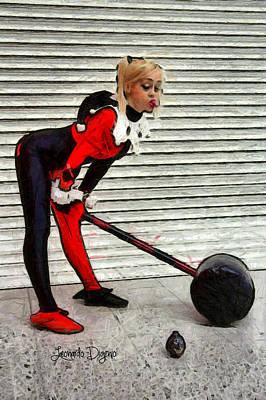 Red And Black Digital Art - Harley Quinn Classic  - Free Style -  - Da by Leonardo Digenio