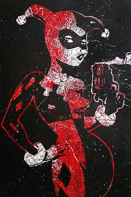 Batman Stencils Painting - Classic Harley Quinn Pop Art Painting In Red And White by Anthony Melice