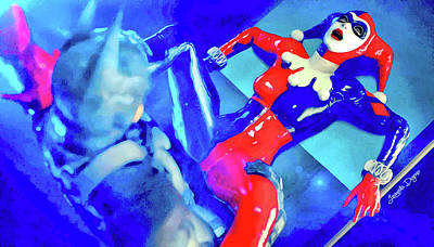 Harley Quinn Fighting Batman - Vivid Aquarell Style Art Print