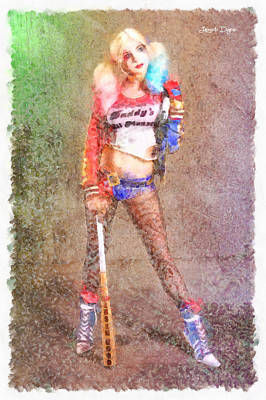Baseball Digital Art - Harley Quinn Player - Da by Leonardo Digenio