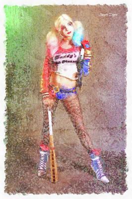 Film Painting - Harley Quinn Player by Leonardo Digenio