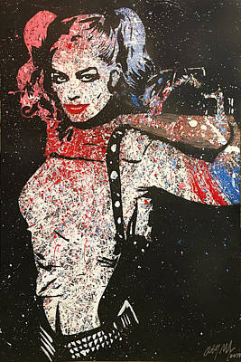 Batman Stencils Painting - Harley Quinn From Suicide Squad Pop Art Painting In Blue, Pink, Red And White by Anthony Melice