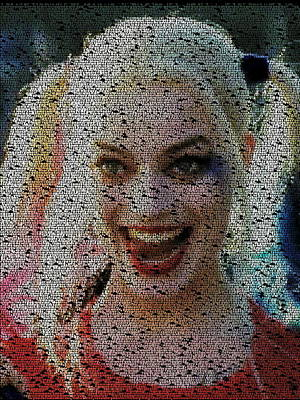 Painting - Harley Quinn Quotes Mosaic by Paul Van Scott