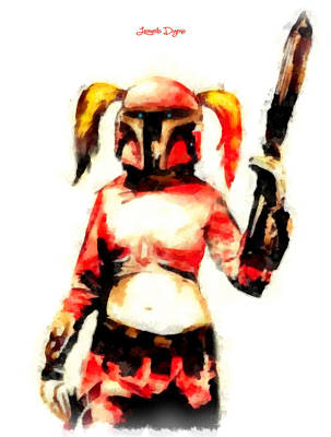 Film Digital Art - Harley Quinn Trooper  - Aquarell Style -  - Da by Leonardo Digenio