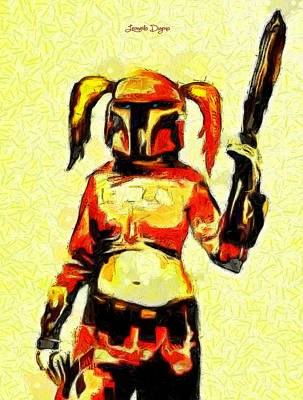 Rifle Digital Art - Harley Quinn Trooper  - Van Gogh Style -  - Da by Leonardo Digenio