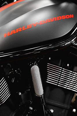 Photograph - Harley Red Font 11716 by Rospotte Photography