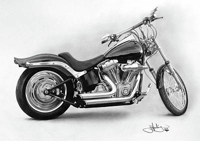 Bicycle Drawing - Harley Softail Study Drawing by John Harding