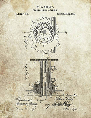 Drawing - Harley Transmission Gear Patent by Dan Sproul