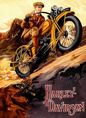 Cycles Painting - Harley Vintage Hill Climb Ad by Big 88 Artworks