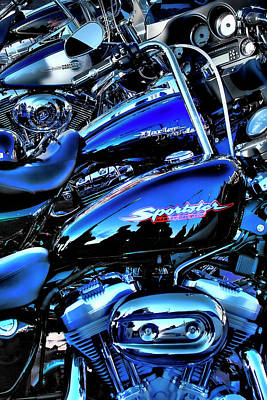 Sportster Photograph - Harley's All In A Row by David Patterson