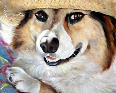 Dog Close-up Painting - Harley's Hat by Mary Sparrow