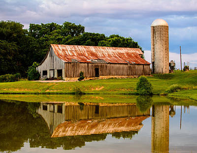 Harlinsdale Barn Reflection Art Print