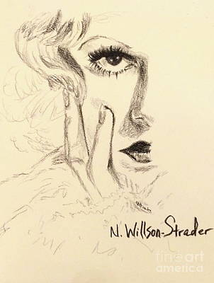 Red Gown Drawing - Harlow, Half Face by N Willson-Strader