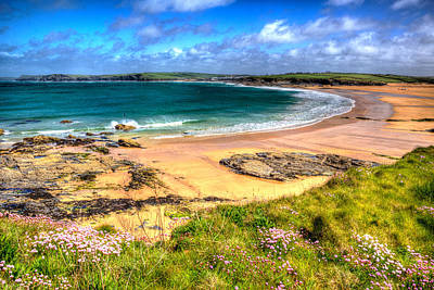 Trevone Photograph - Harlyn Bay Beach North Cornwall England Uk Near Padstow And Newquay In Colourful Hdr by Michael Charles