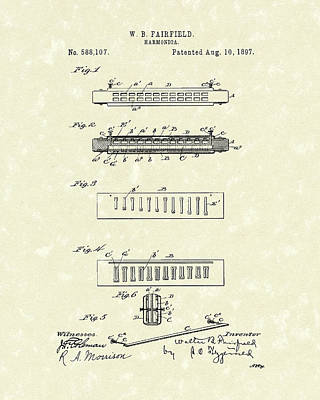 Smallmouth Bass Drawing - Harmonica Fairfield 1897 Patent Art by Prior Art Design