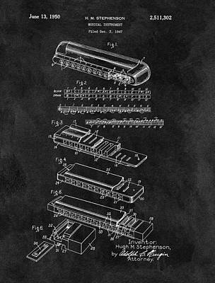 Musicians Drawings - Harmonica Patent Blueprint by Dan Sproul