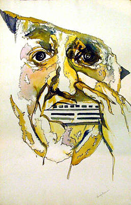 Harmonica Player Art Print by Mindy Newman