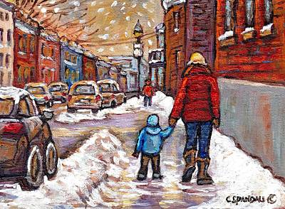 Montreal Memories Painting - Original Montreal Street Scene Paintings For Sale Winter Walk After The Snowfall Best Canadian Art by Carole Spandau