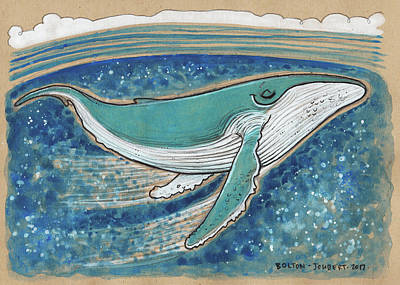 Humpback Whale Mixed Media - Harmonious Humpback Whale by Maria Bolton-Joubert