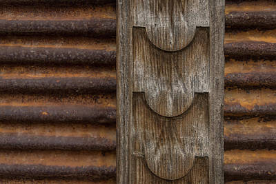 Photograph - Harmonious Interplay - Rusty Metal Corduroy And Weathered Wood by Georgia Mizuleva