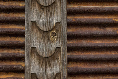 Photograph - Harmonious Interplay - Weathered Wood And Rusty Metal by Georgia Mizuleva