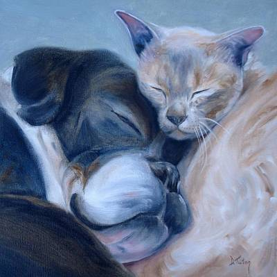 Cats And Dogs Painting - Harmony by Donna Tuten